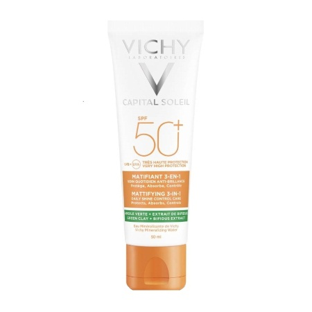 Vichy Capital Soleil Mattifying 3 in 1 Daily Shine Control Care SPF50+ Αντιηλιακή Κρέμα Προσώπου 50ml