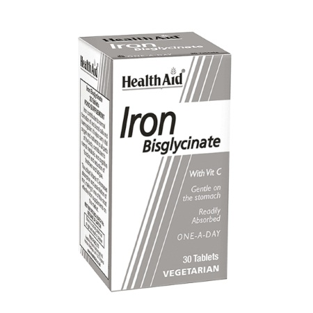 Health Aid Iron Bisglycinate with Vitamin C 30tabs