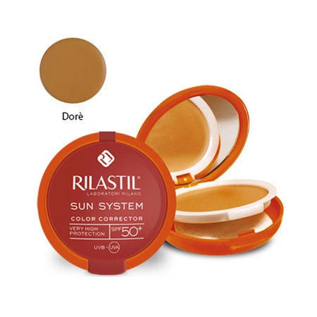 Rilastil Sun System Color Corrector 02 Dore SPF50+ Κρεμώδες Compact Foundation 10g