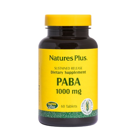 Natures Plus PABA 1000mg Sustained Release Διατροφικό συμπλήρωμα σε ενισχυμένη βάση από πίτουρο ρυζιού 60 ταμπλέτες