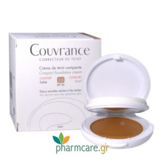 Avene Couvrance Creme de Teint Compacte Confort SPF30 Sable 3.0 Make-up σε Μορφή Κρέμας για Ξηρό Δέρμα 10gr