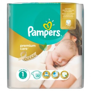 Pampers Premium Care New Baby Μέγεθος 1 22 πάνες