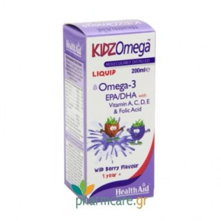 Health Aid KIDZ Omega (EPA/DHA) 200ml with vitamin A, D, C, E & Folic Acid Σιρόπι για παιδιά με ΩΜΕΓΑ 3