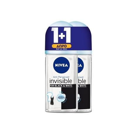 Nivea Anti-Perspirant Invisible for Black & White Fresh 48h Αποσμητικό Roll On 50ml ΔΩΡΟ 1+1