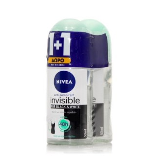Nivea Black & White Active Invisible Roll-On Αποσμητικό 50ml 1+1 ΔΩΡΟ