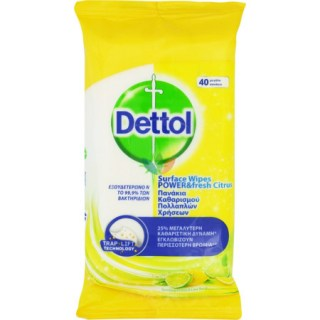 Dettol Surfaces Clean Wipes Αντιβακτηριδιακά Μαντηλάκια Καθαρισμού Επιφανειών με Άρωμα Λεμόνι & Lime 40 τεμάχια