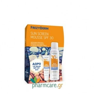 Frezyderm Sun Screen Mousse SPF30 150ml + ΔΩΡΟ Sun Screen Lip Balm SPF50+ 6ml