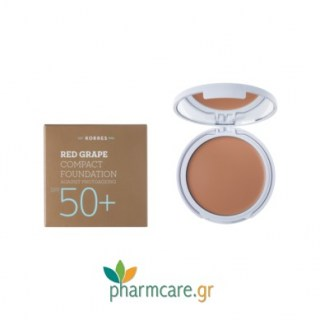 Korres Red Grape Compact Foundation SPF50+ Αντηλιακό Make Up σε μορφή compact με κόκκινο σταφύλι κατά της πρόωρης γήρανσης, Απόχρωση 1 Ανοιχτή 8gr