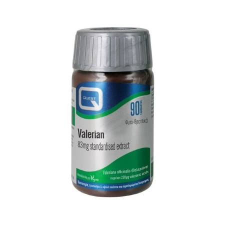 Quest Valerian extract 83mg Εκχύλισμα Ρίζας Βαλεριάνας κατά του Άγχους 90 ταμπλέτες