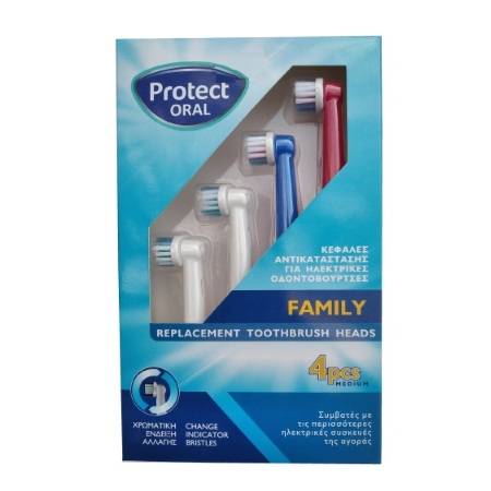 Protect Oral Family Replacement Toothbrush Heads (Medium) 4 τεμάχια
