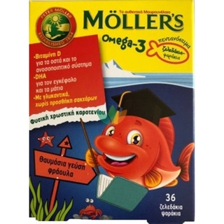 Mollers Omega 3 Παιδικά Ζελεδάκια Φράουλα 36 ζελεδάκια