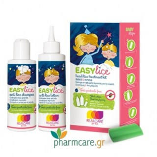 Real Care Easylice Head Lice Treatment Kit Λοσιόν 125ml & Σαμπουάν 125ml & Χτένα για Κόνιδες 1τμχ