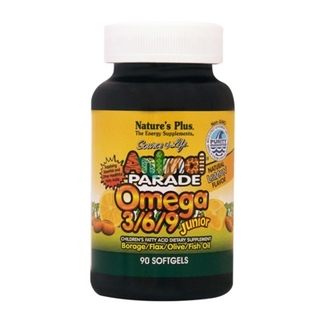 Natures Plus Animal Parade Omega 3 6 9 Junior Ζελεδάκια Ω3 για Παιδιά με γεύση λεμόνι 90 μαλακές κάψουλες